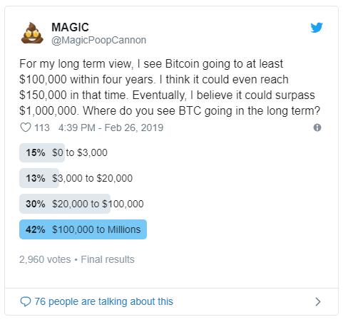 Enquete mostra que 42% dos investidores acreditam que o preço do bitcoin no longo prazo vai superar os 100 mil dólares e chegar aos milhões